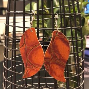 Embossed orange leather earrings! Never worn!